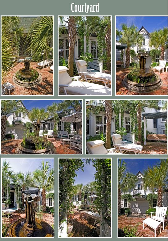 Pictures of the courtyard at 2502 Atlantic Ave, Sullivan's Island, SC
