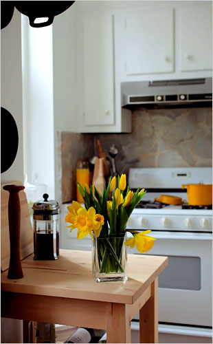 Fresh flowers in kitchen